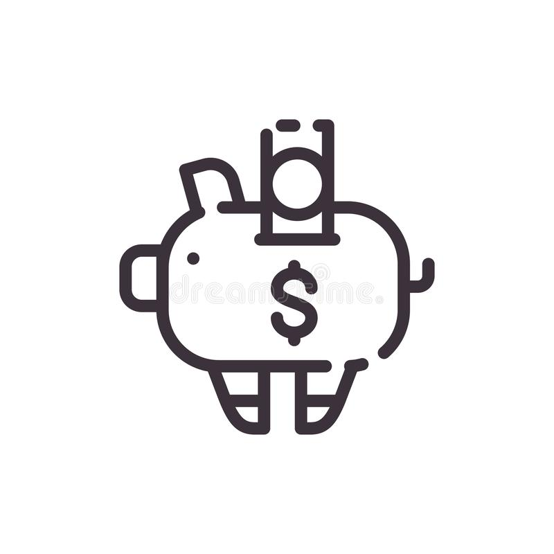 Dollar piggy bank. Financial investments. Vector liner black icon. vector illustration