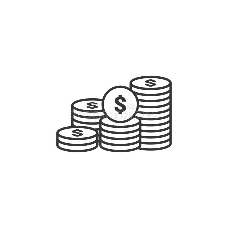 dollar pile coins icon. gold golden money stack for profit financing. business investment growth concept for info graphics, websit vector illustration
