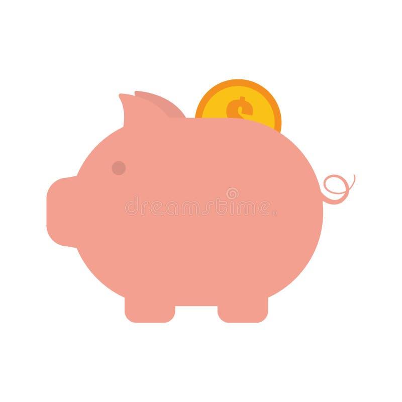 Dollar porcin de pièce de monnaie d'argent d'or illustration de vecteur