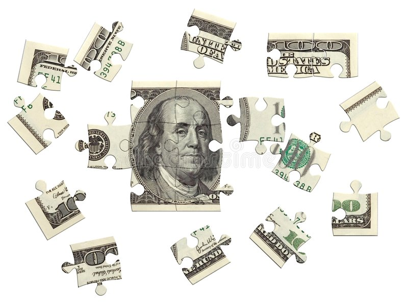 Dollar puzzle scattered. 100 dollar bill, incomplete puzzle, 3D render over white, isolated royalty free illustration