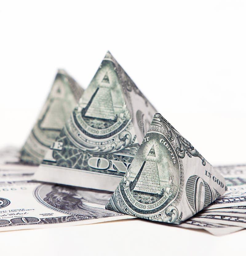 Dollar pyramid stock photography