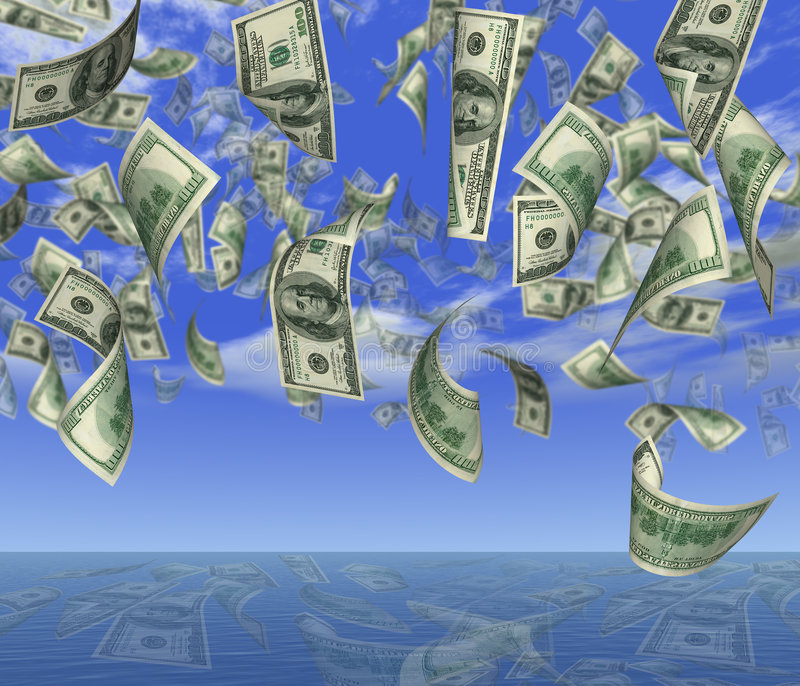 Dollar_rain. Falling 100 dollar banknotes on a background of the sky in ocean