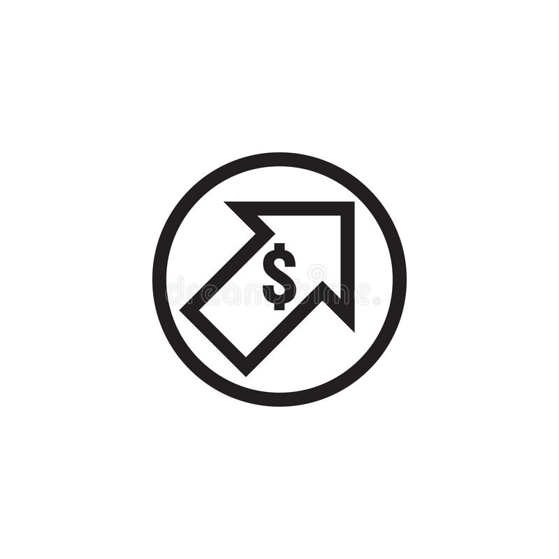 Dollar rate increase icon. Money symbol with stretching arrow up. rising prices. Business cost sale icon. cash salary increase. Investment growth. vector stock illustration