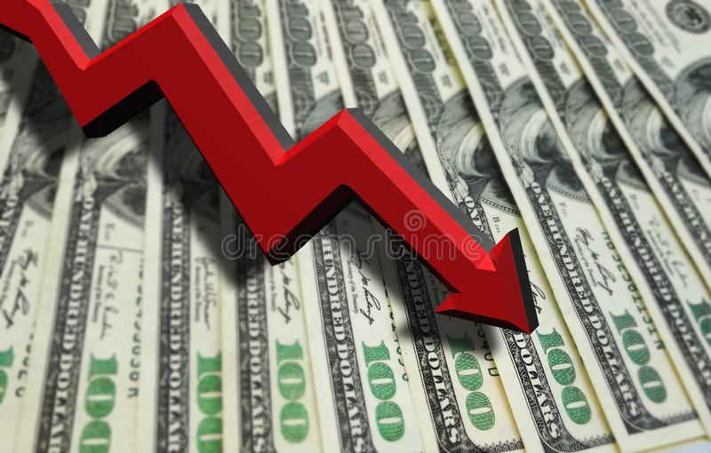 Dollar recession arrow. Red 3D arrow pointing down over hundred dollar bills -- economy or recession concept royalty free stock images