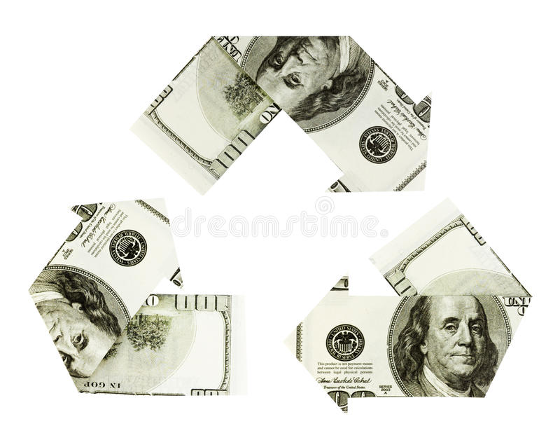 Dollar recycling symbol. Dollar bills on white background folded into arrows in the shape of the recycling symbol stock image