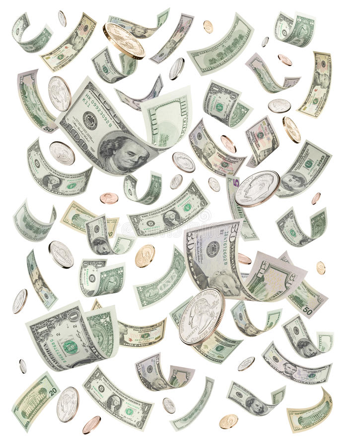 dollar regna för jackpotpengar arkivfoton