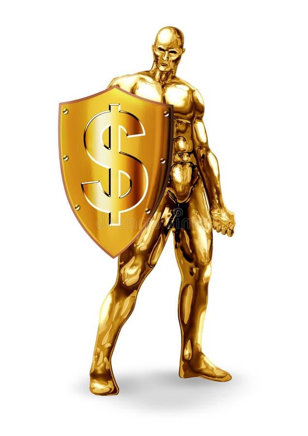 Dollar Resistancy. Illustration of a gold man holding a shield with dollar symbol stock illustration