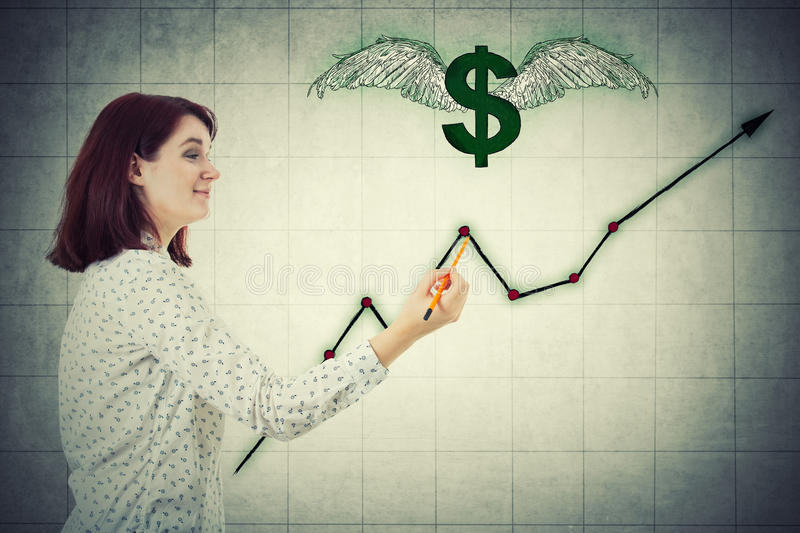 Dollar rising graph stock photo
