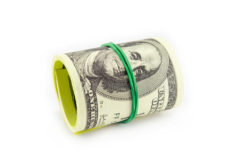 Dollar roll tightened with band. Rolled money isolated on white royalty free stock photos