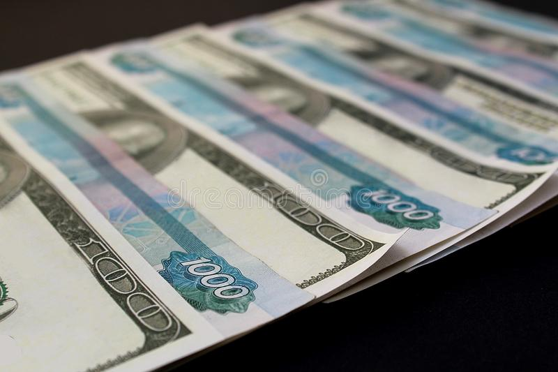 Money american money russian dollars and rubles stock images