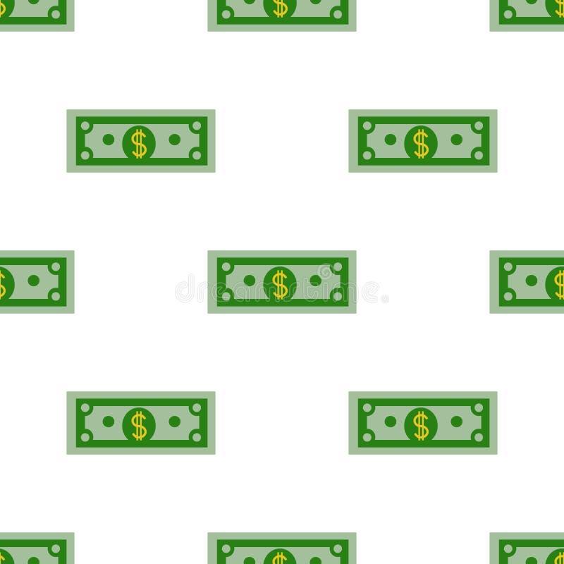 Dollar sömlös modell för räkning på en vit bakgrund Plan designvektor stock illustrationer
