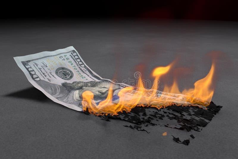 100 Dollar-Schein brennt hell stock abbildung