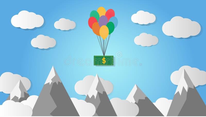Dollar se levant dans le ciel avec des ballons illustration libre de droits