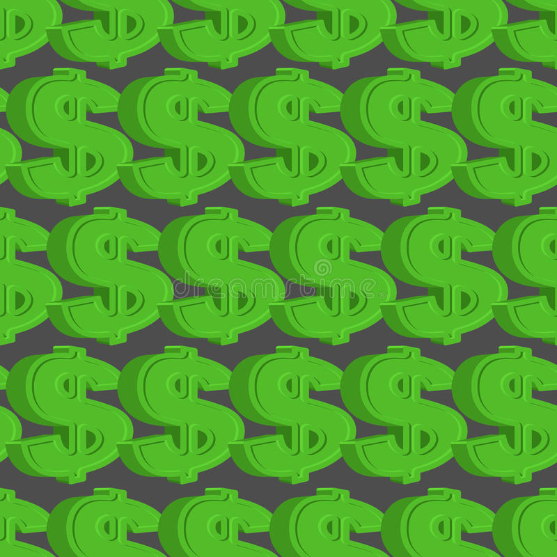 Dollar seamless pattern. Green Dollar background. vector illustration