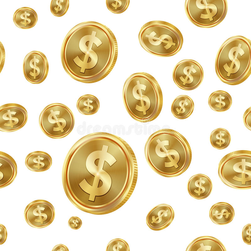 Dollar Seamless Pattern Vector. Gold Coins. Isolated Background. Golden Finance Banking Texture. stock illustration