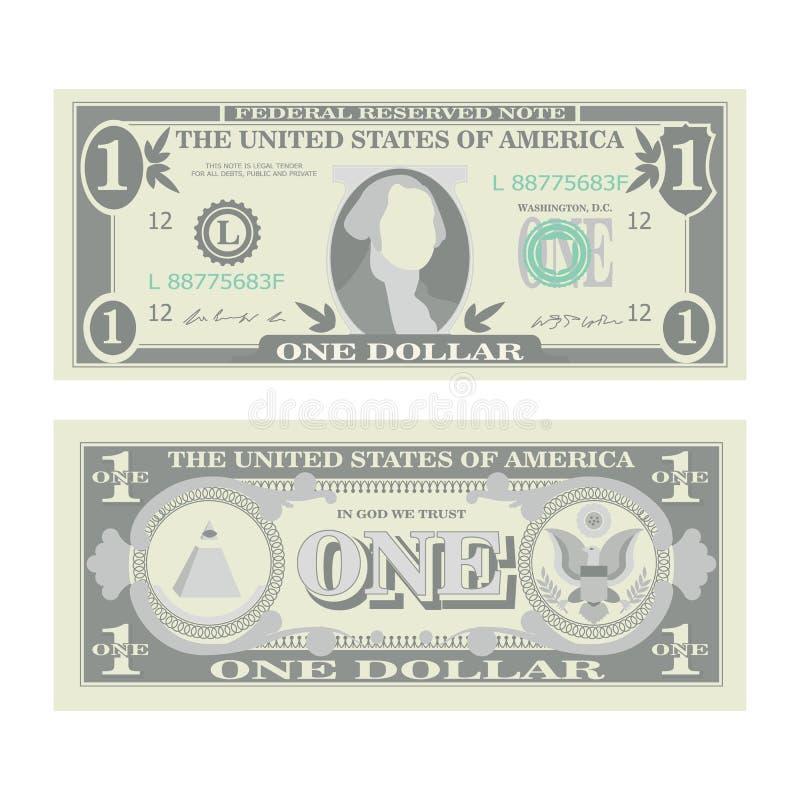 1 dollar sedelvektor Tecknad filmUSA-valuta Två sidor av en amerikanska pengar Bill Isolated Illustration Kontant symbol 1 stock illustrationer