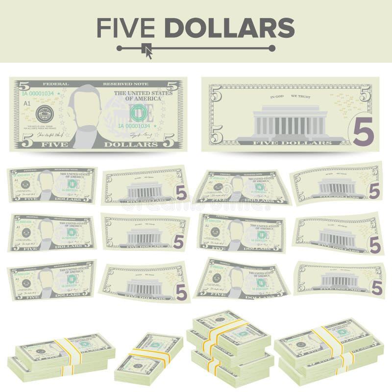 5 dollar sedelvektor Tecknad filmUSA-valuta Två sidor av pengar Bill Isolated Illustration för fem amerikan Kontant symbol vektor illustrationer