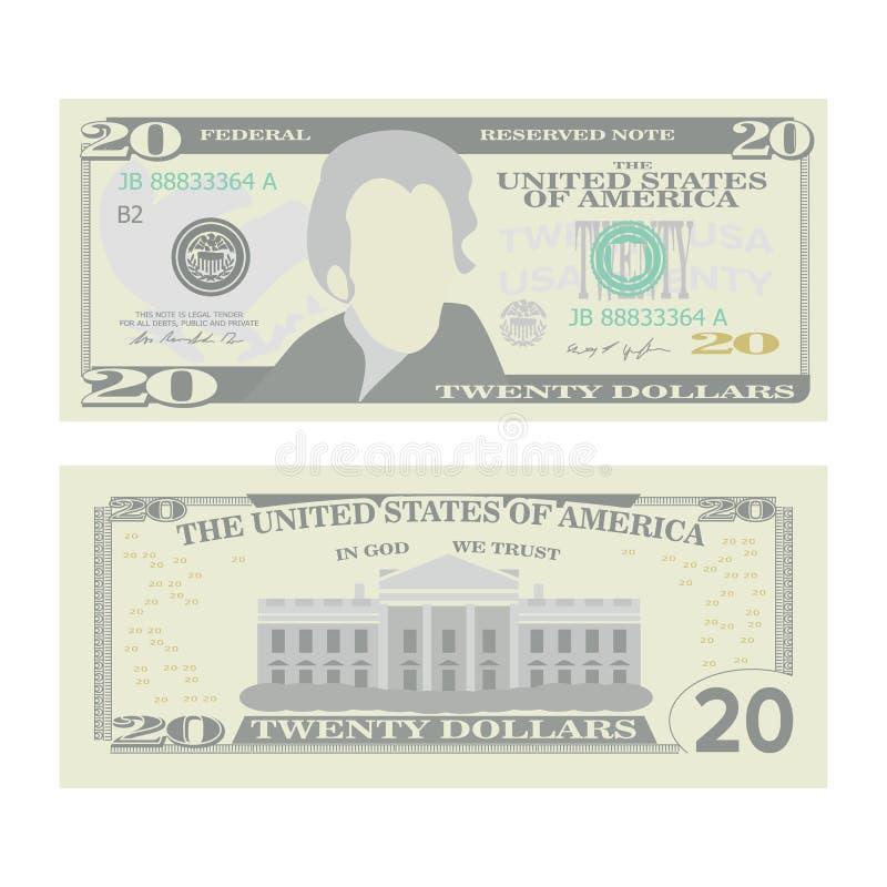 20 dollar sedelvektor Tecknad filmUSA-valuta Två sidor av pengar Bill Isolated Illustration för tjugo amerikan kassa royaltyfri illustrationer
