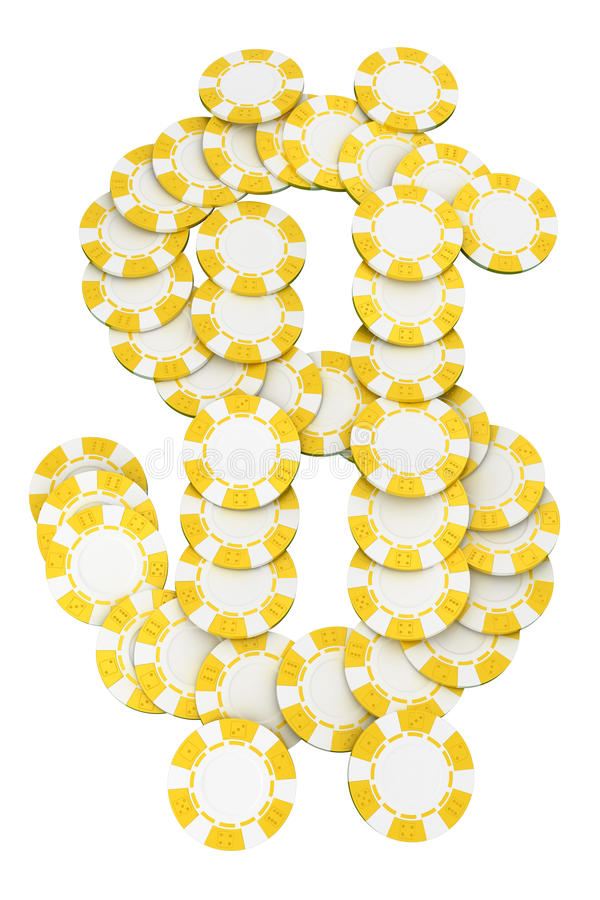 Dollar shaped Casino or roulette chips royalty free illustration
