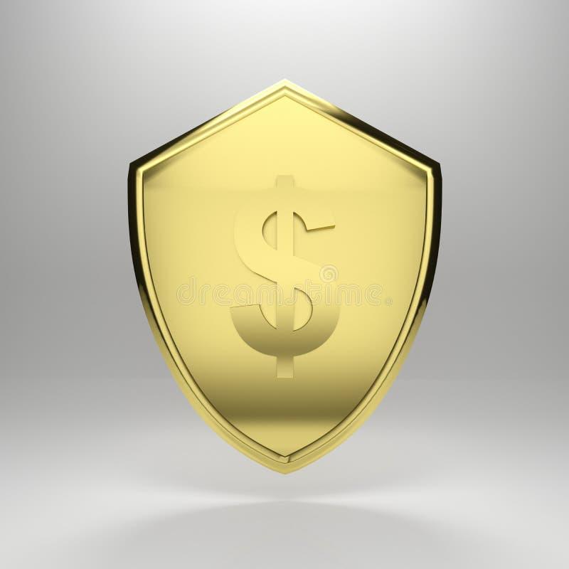Dollar Shield. 3d render illustration of a golden dollar shield stock illustration