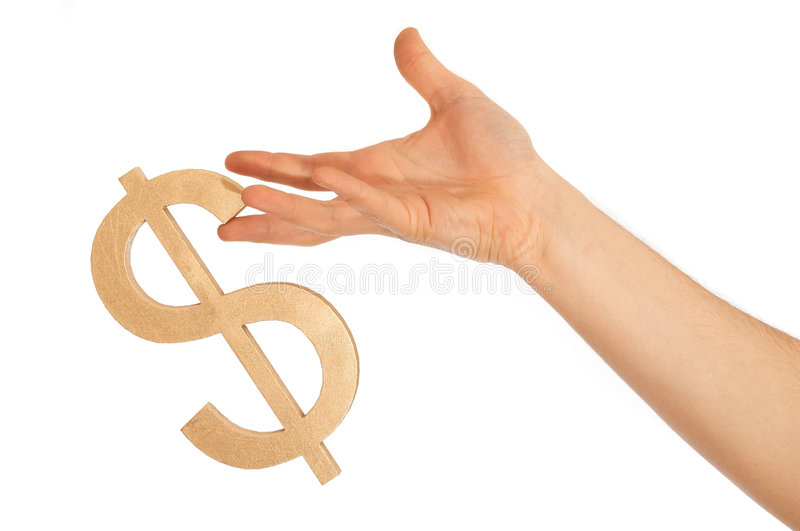Dollar sign. Is nearly falling from hand, on white royalty free stock image