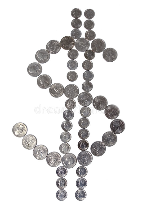 Dollar sign. Of quarters and dimes stock image