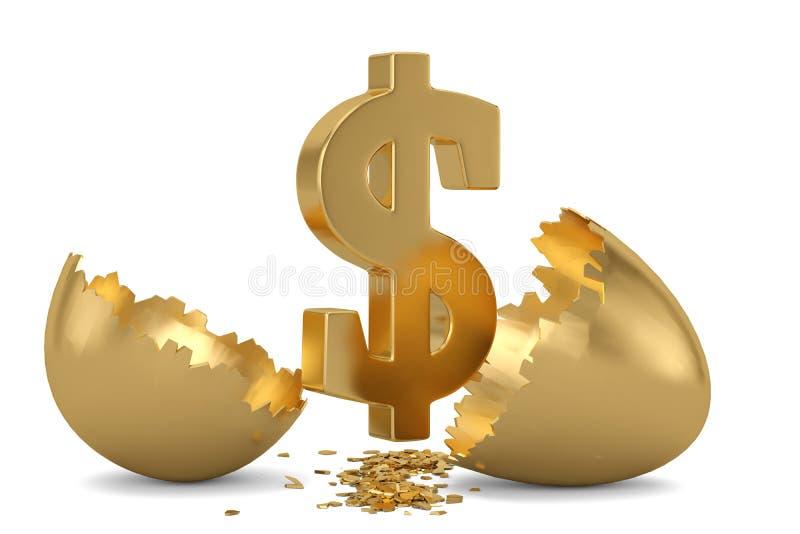 Dollar sign and break gold egg. 3D illustration.  stock illustration