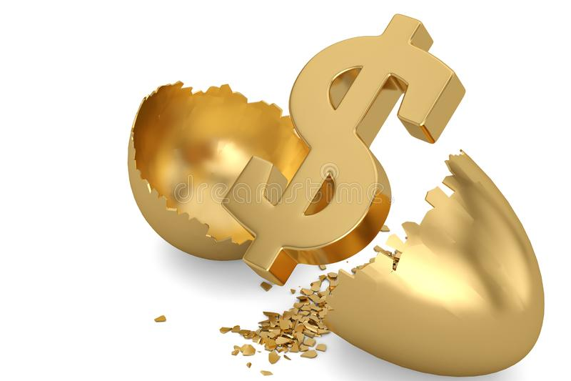 Dollar sign and break gold egg. 3D illustration.  vector illustration