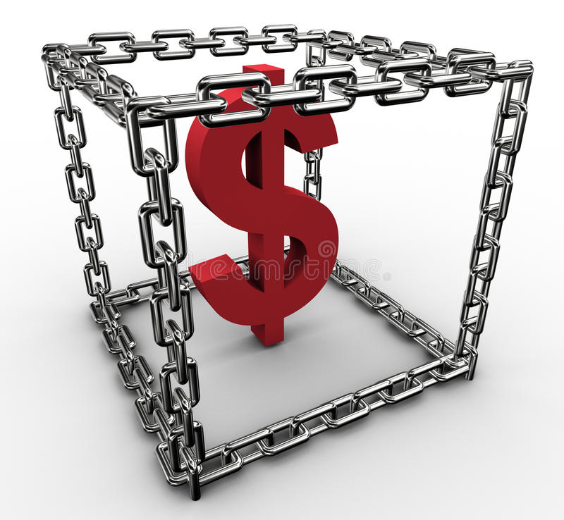 Download Dollar sign in chain box stock illustration. Image of protection - 22713777
