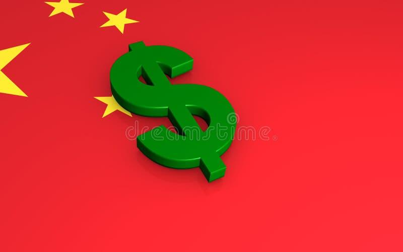 Dollar sign on Chinese flag royalty free illustration