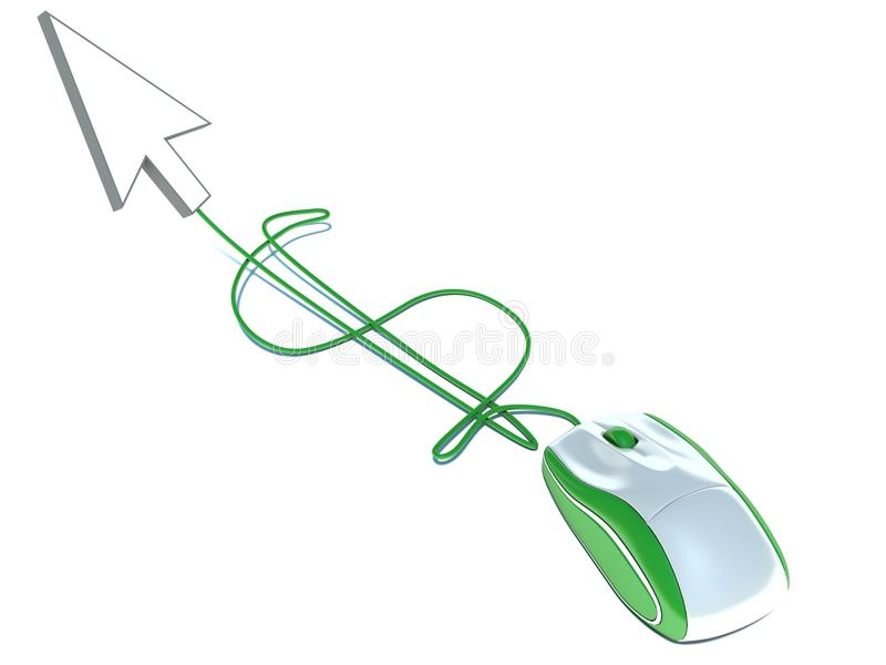 Dollar sign and computer mouse.  royalty free illustration