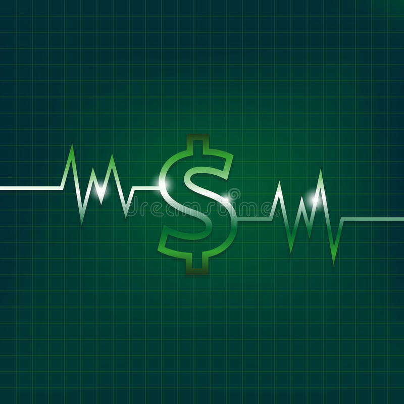 Dollar sign concept with pulsation vector illustration