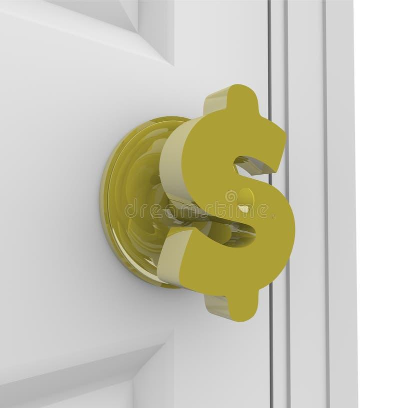 Dollar Sign - Doorknob. A door knob in the shape of a dollar sign, symbolizing the opening of a door to financial success stock illustration