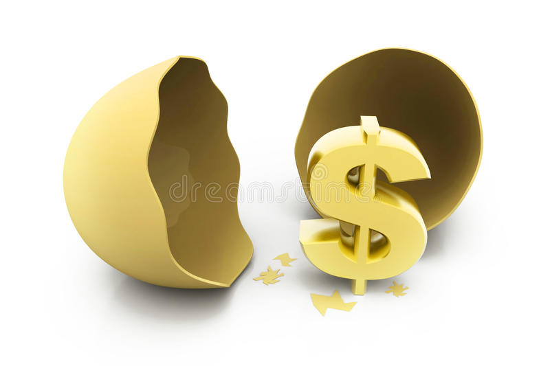 Dollar sign with egg stock illustration