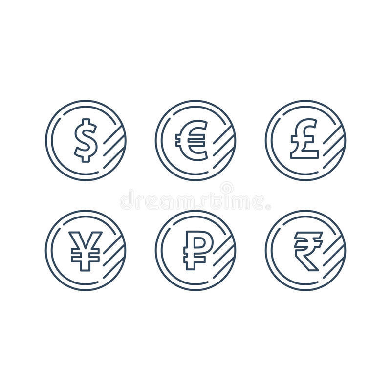 Dollar Sign Euro Symbol Pound Icon Ruble Coin Financial Currency