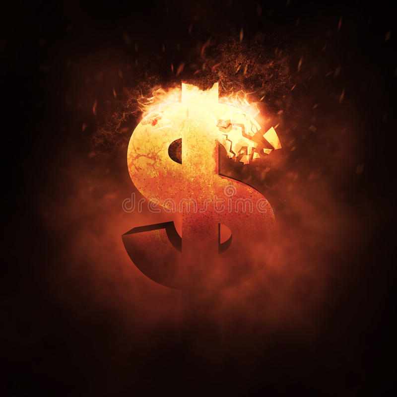 Dollar Sign on Fire royalty free stock images
