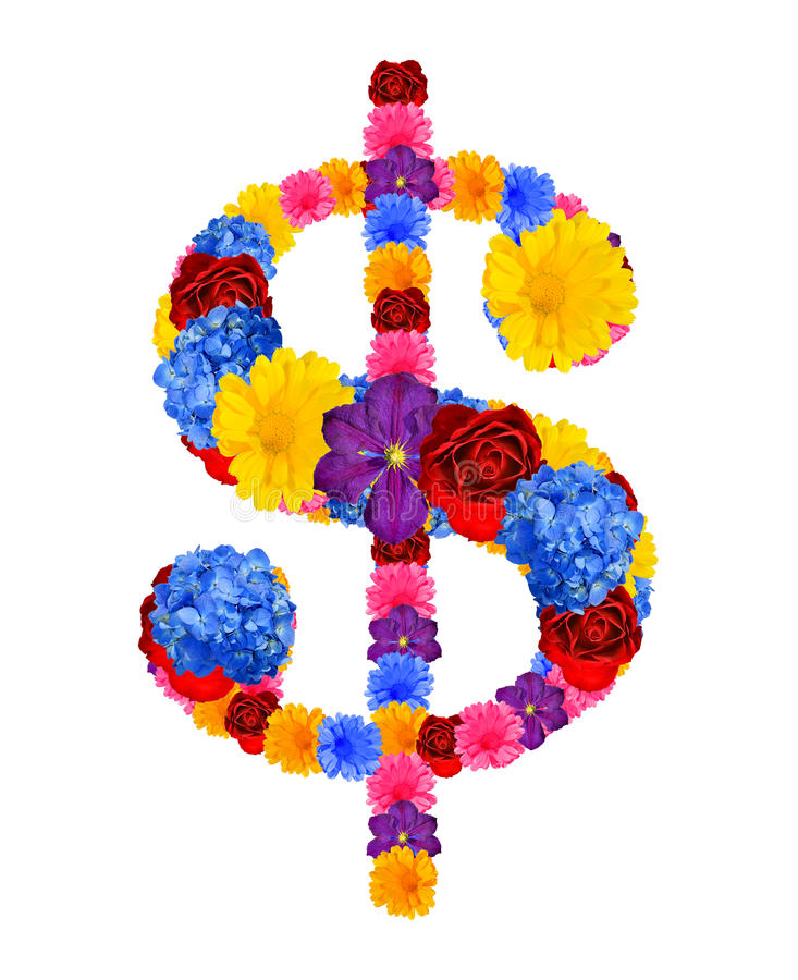 Dollar Sign From Flowers Stock Photo