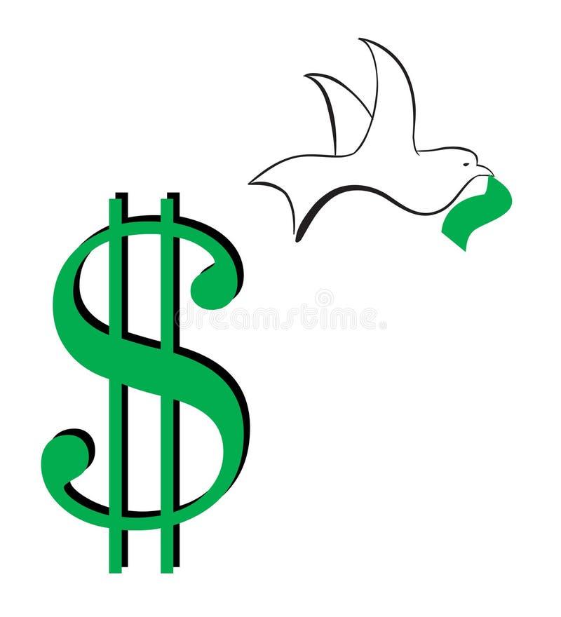 Download Dollar sign-flying away stock vector. Image of green, digital - 8210032