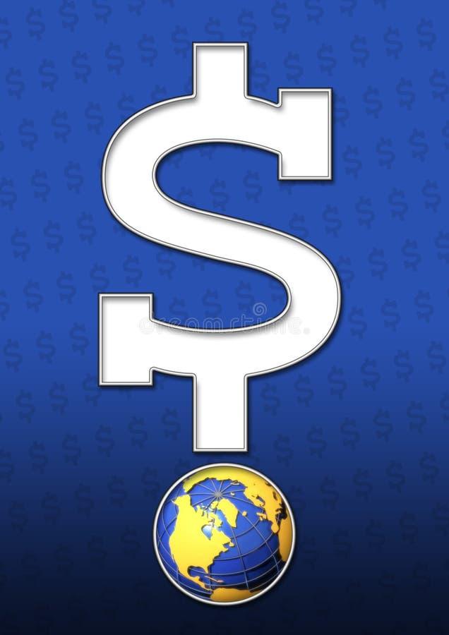 Dollar sign and globe