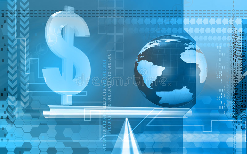Download Dollar Sign And Globe Balancing Stock Illustration - Illustration of cost, colour: 7386068