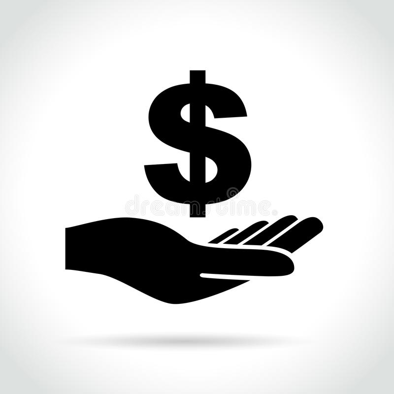Dollar sign in hand icon royalty free illustration