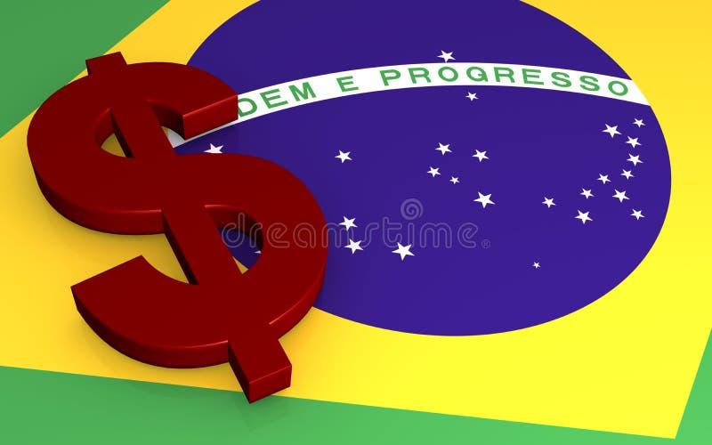 Dollar sign. Illustration of a dollar sign on a Brazil flag background vector illustration