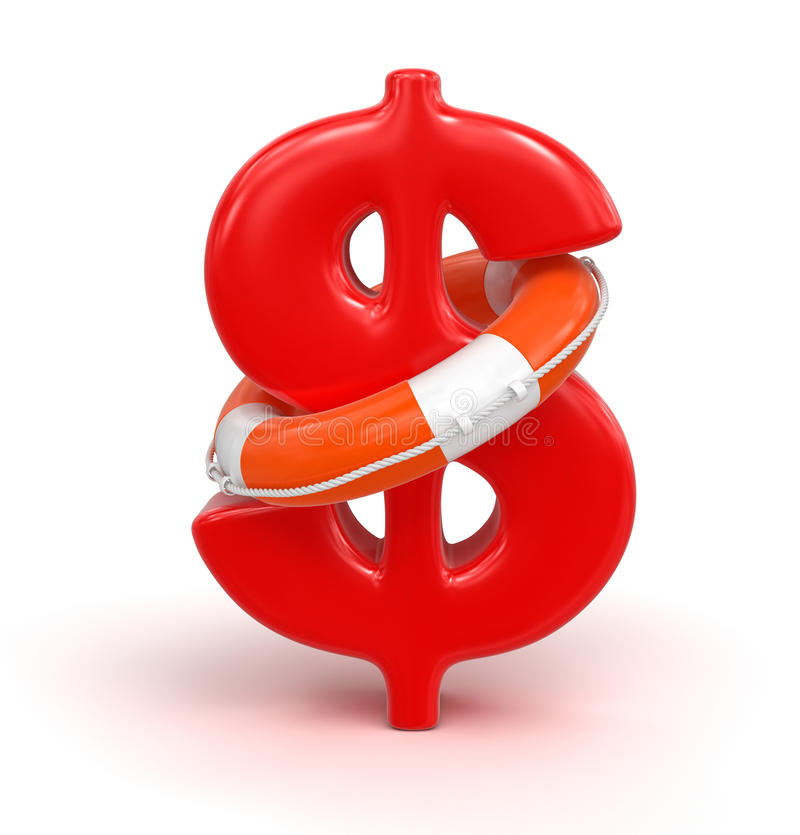 Download Dollar Sign And Lifebuoy (clipping Path Included) Royalty Free Stock Images - Image: 33439159