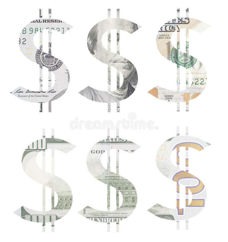 Dollar sign made of cut hundred dollar bill stock images