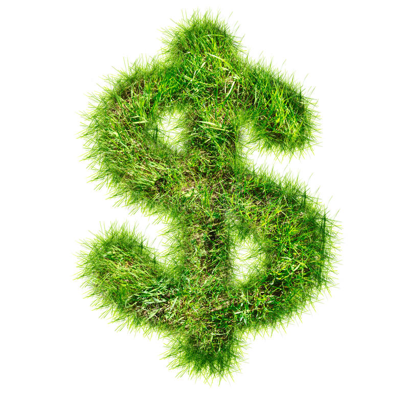 Dollar sign made of green grass stock photo