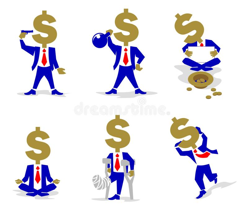 Dollar Coin-Man in different situation. stock illustration