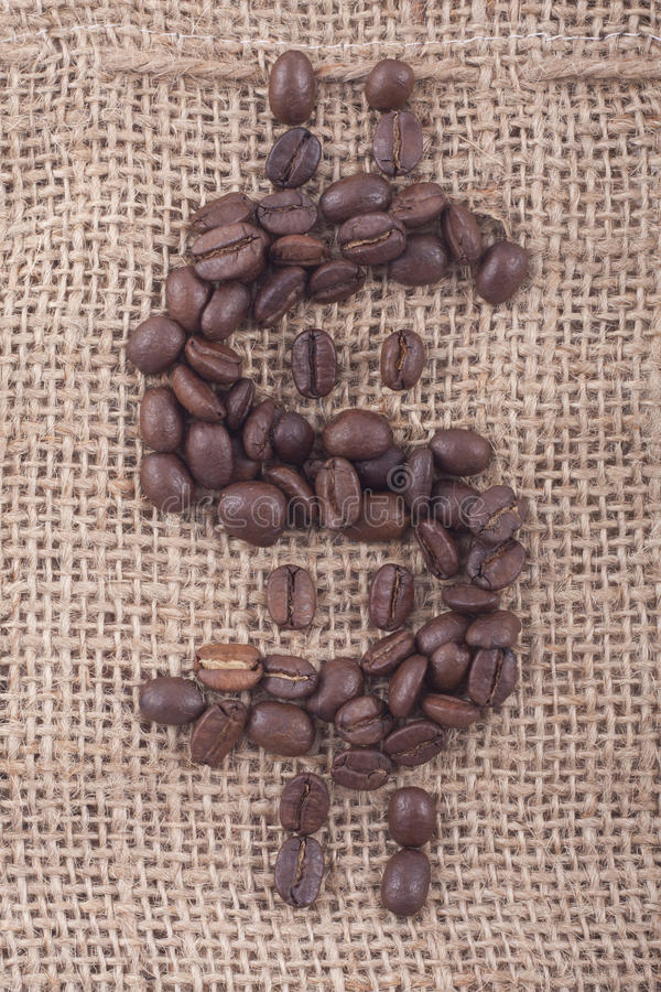 Free Dollar Sign Of Coffee Beans On Jute Royalty Free Stock Photography - 17020527