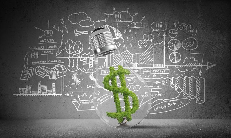 Dollar sign placed inside lightbulb. Lightbulb with green dollar symbol inside placed against sketched business analytical information on grey wall. 3D vector illustration