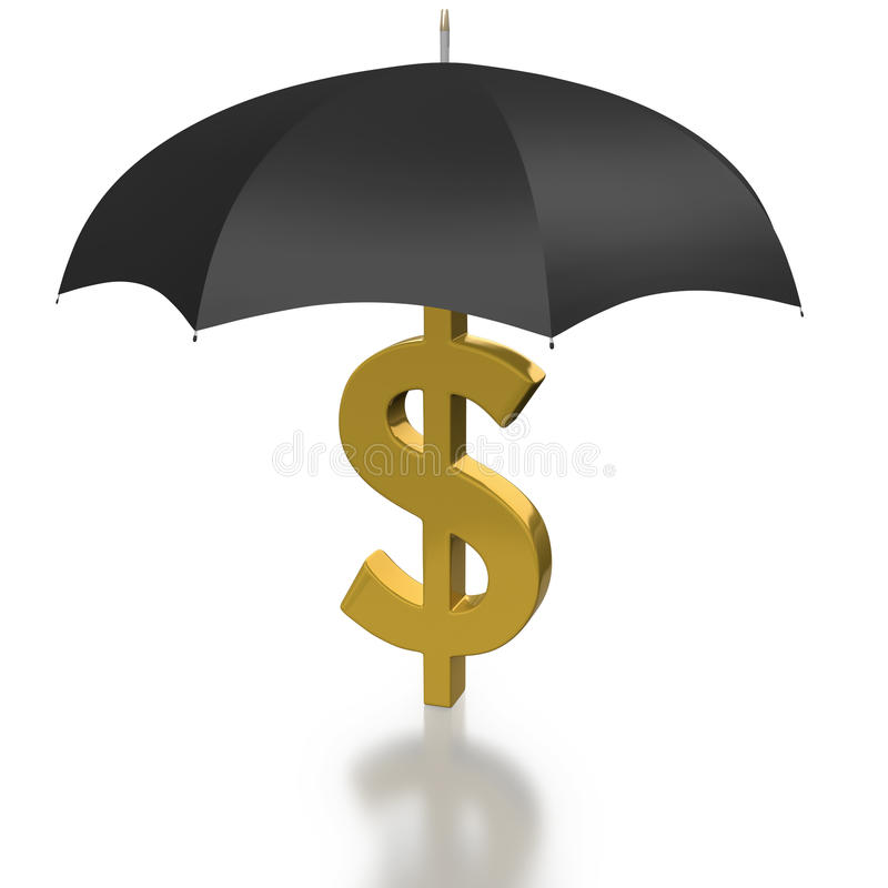 Download Dollar Sign Protected By An Umbrella Stock Illustration - Illustration: 17590920