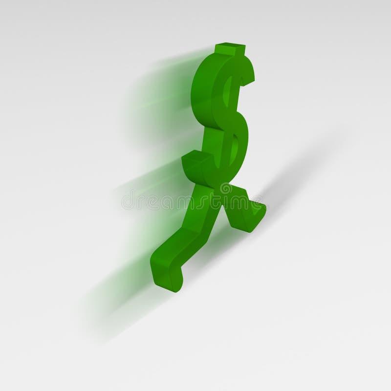 Dollar Sign, Running Away stock photo